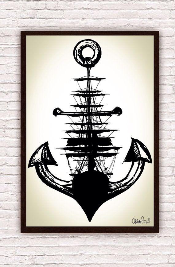 Sailing Ship w/ Anchor // Trippy Nautical Ship and Anchor Art Drawing // Poster Print   by SargentIllustration, $30.00