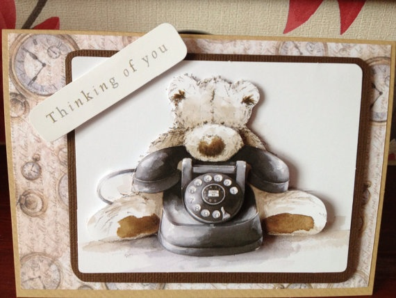 Handmade Decoupage Wellington Bear Thinking of by Snugglescuddles, £2.50