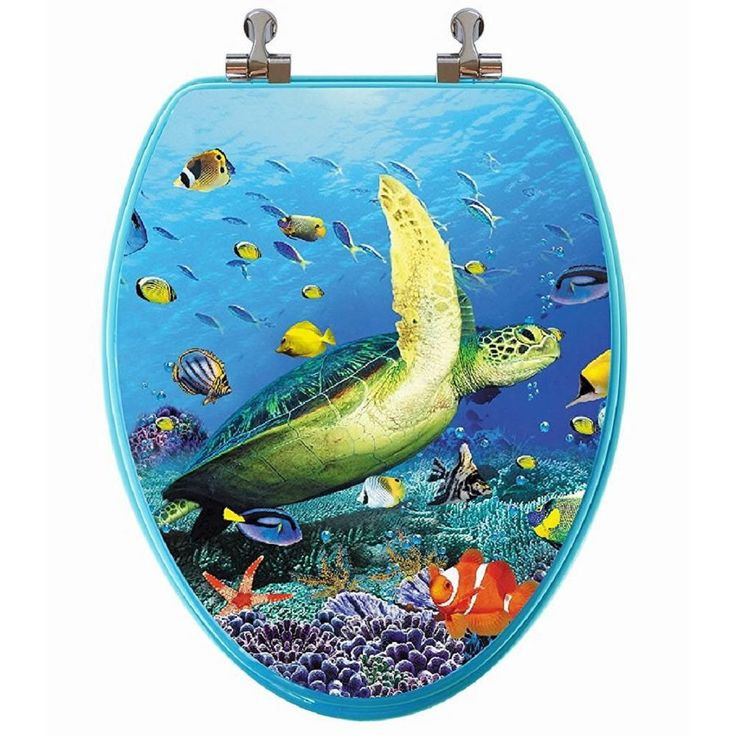 TOPSEAT 3D Ocean Series Sea Turtle Elongated Closed Front Toilet Seat in Blue