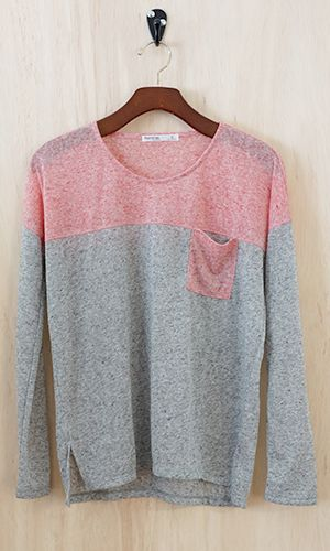 Patch Pocket Colorblock Sweater, Pink - Conversation Pieces