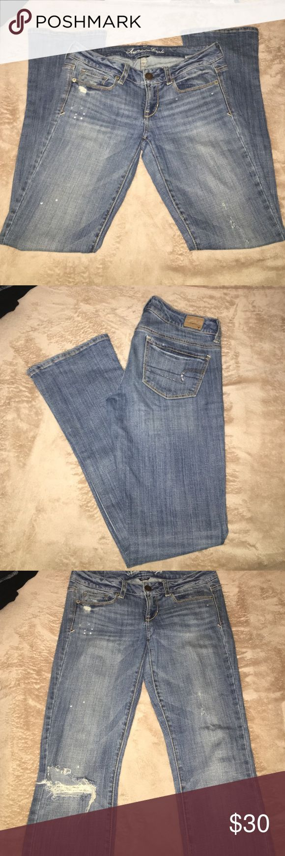 American Eagle Skinny Kick Distressed jeans True to size, they came distressed at the knee. The back pockets have cute sequin details along the American eagle back pocket logo. They don't fit anymore so I can't model, but these jeans rock. skinny kick means they have a slight boot cut to them but are looser around the ankles. American Eagle Outfitters Jeans Boot Cut