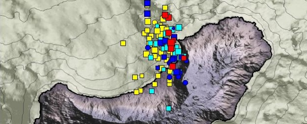 A new swarm of earthquakes started on December 31, 2012 at El Hierro Island in Canary Islands and continued into the early days of 2013.  Volcano Discovery is reporting that most earthquakes are located at 15 – 20 km depth under El Golfo and seem to propagate slowly towards the east.  Read more - http://thewatchers.adorraeli.com/2013/01/02/eyes-on-the-el-hierro-island-canary-islands-new-earthquake-swarm-reported