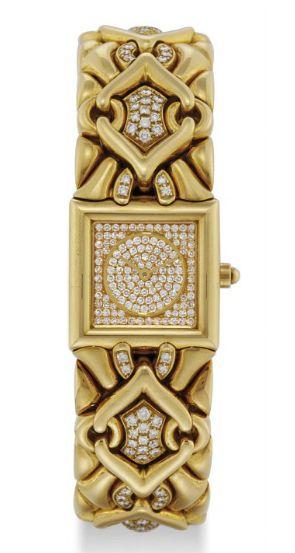 BULGARI. A LADY'S 18K GOLD AND DIAMOND-SET HEAVY SQUARE BRACELET WATCH  SIGNED BULGARI, TRIKA MODEL, REF. BJ 06, CASE NO. P.533, CIRCA 1995  Quartz movement, pavé-set diamond dial, square case, back secured by four screws, 18k gold and partially pavé-set diamond Bulgari fancy-link bracelet, case and movement signed  21 mm. wide