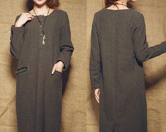 robe de lin du choc de couleur  robe large robe par camelliatune