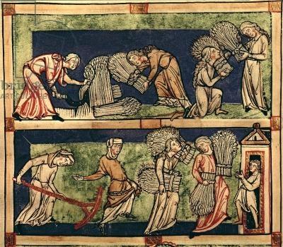 Harvesting, Rhine School (vellum), 13th century