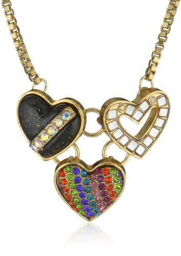 "Betsey Johnson ""60's Mod "" Three Heart Pendant Necklace Betsey Johnson. $38.00. Items that are handmade may vary in size, shape and color. Made in China. Gold Tone Necklace Chain, Multi Heart Pendant Including Glitter Heart With Diagonal Crystals, Heart With Silver Tone Squares And Heart With Rainbow Colored Crystals Made in CN. Gold Tone Necklace Chain, Multi Heart Pendant Including Glitter Heart With Diagonal Crystals, Heart With Silver Tone Squares And Heart Wit..."