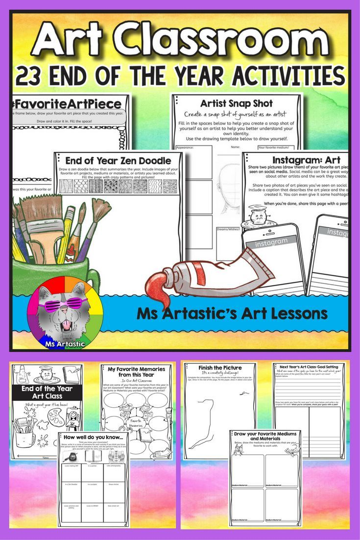 23 End of Year Art Class activities to allow students to reflect on the year, plan for the summer or their break, to set goals for next year's art class, to complete drawing prompts, to create a zen doodle,, to get to know their peers better, to draw and