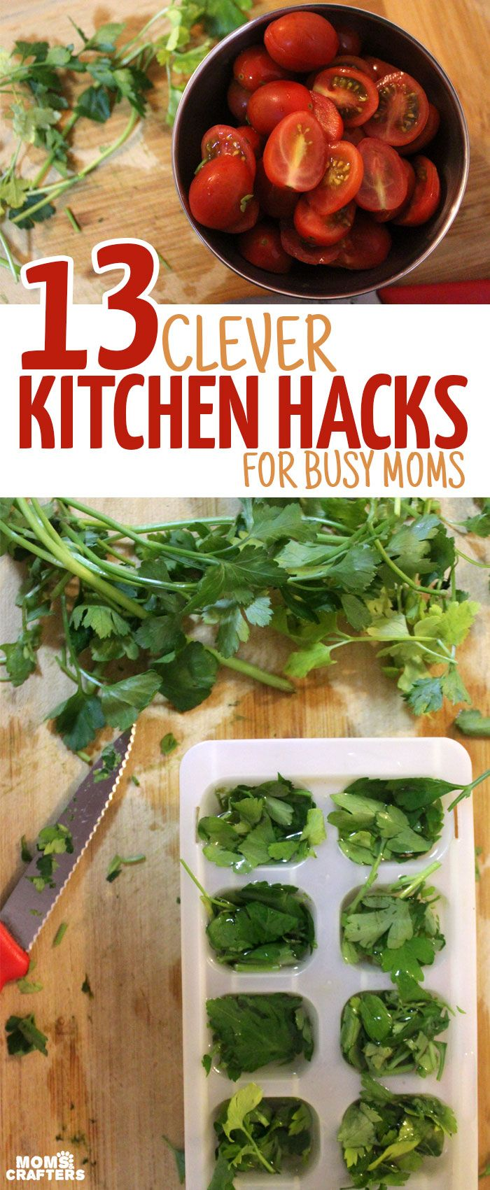 13 Clever Kitchen Hacks for Busy Moms - okay, you don't need to be a mom for all of these life tips to be relevant, but a lot will also really help in families with kids. These life hacks are so genius - it will make your cooking much easier! (sponsored)