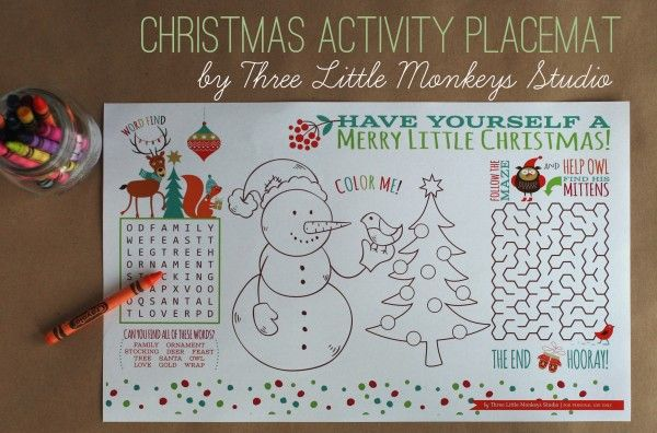 Christmas Activity Placemat Studios Activities And Monkey