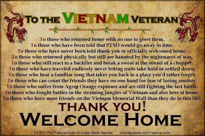 Thank you Vietnam Veterans for your service.  Welcome home! - MilitaryAvenue.com