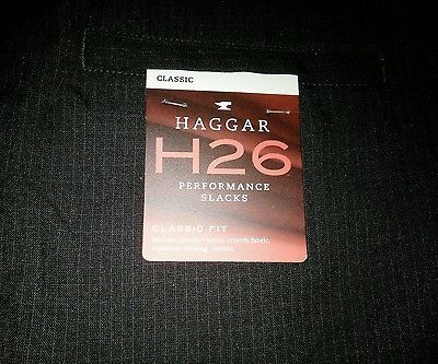 Haggar H26 Black Plaid Performance Slacks Pants Classic Fit Size 36*30 NWOT New