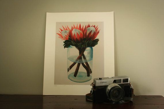 Protea's in pot by LikaHorn on Etsy
