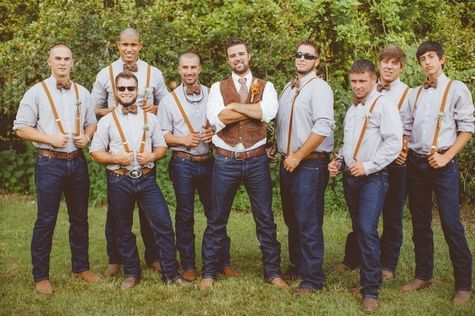 Teal Groomsmen Rustic with boots | ... , suspenders, and bow ties for groom and groomsmen // J Photography