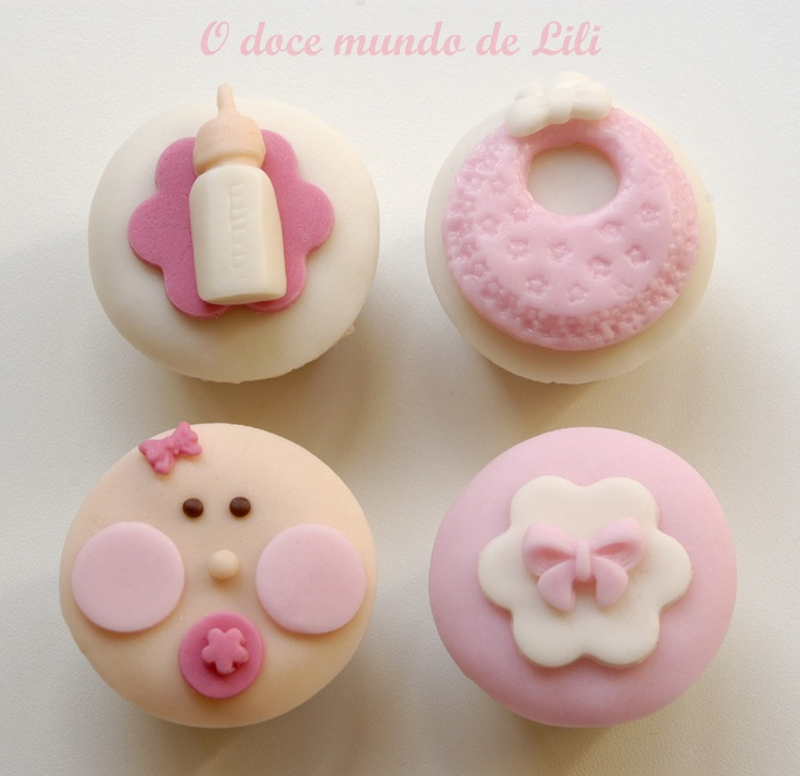 Baby cupcakes - love the bow so simple and sophisticated!