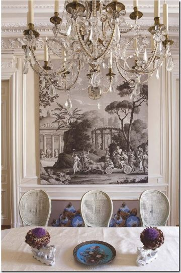 Grisaille-Art-Wallpaper-Murals-Screens...{part I} - laurel home | Zuber Chinoiserie panel in a lovely French dining room
