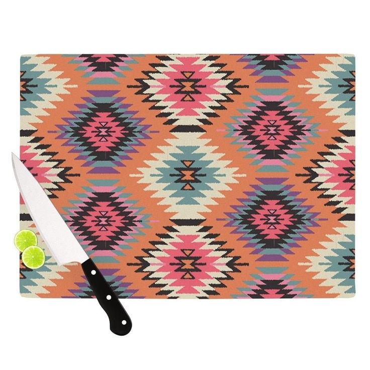 Kess InHouse Amanda Lane 'Southwestern Dreams' Orange and Pink Cutting Board
