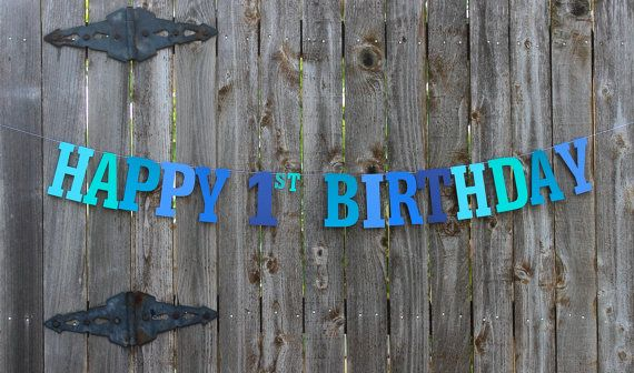 Happy 1st Birthday BannerPersonalized Birthday by MailboxHappiness