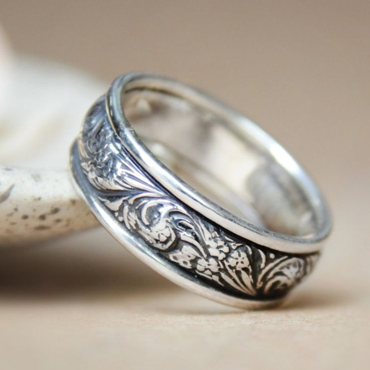 Spectacular Wide Silver Wildflowers Wedding Commitment Band Unisex Floral Florentine Bridal Ring