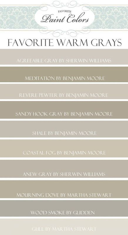 Greige! Wonderful wall color pallette for that warm grey-ish/tan look I like. A throughout house color.