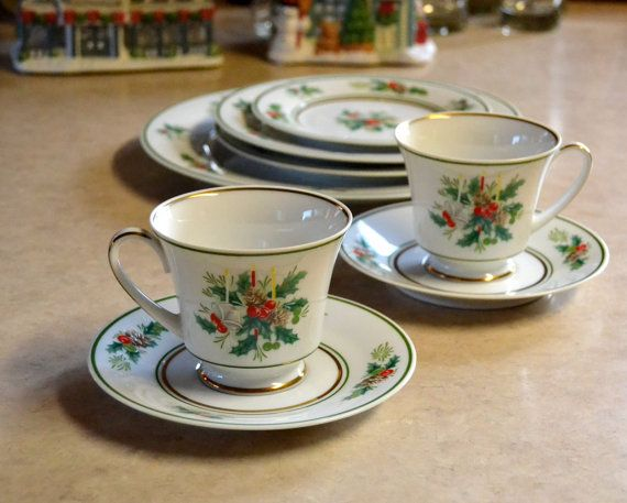 Noritake Holly FOOTED CUP and SAUCER, Holiday Christmas Dishes, vintage retro special occasion dinnerware