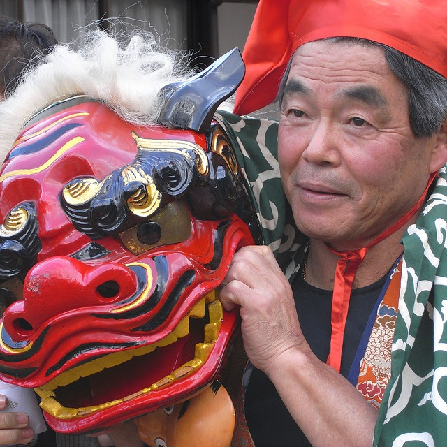 "Japanese traditional new year event, called ""Shishi-mai(lion dance)""."