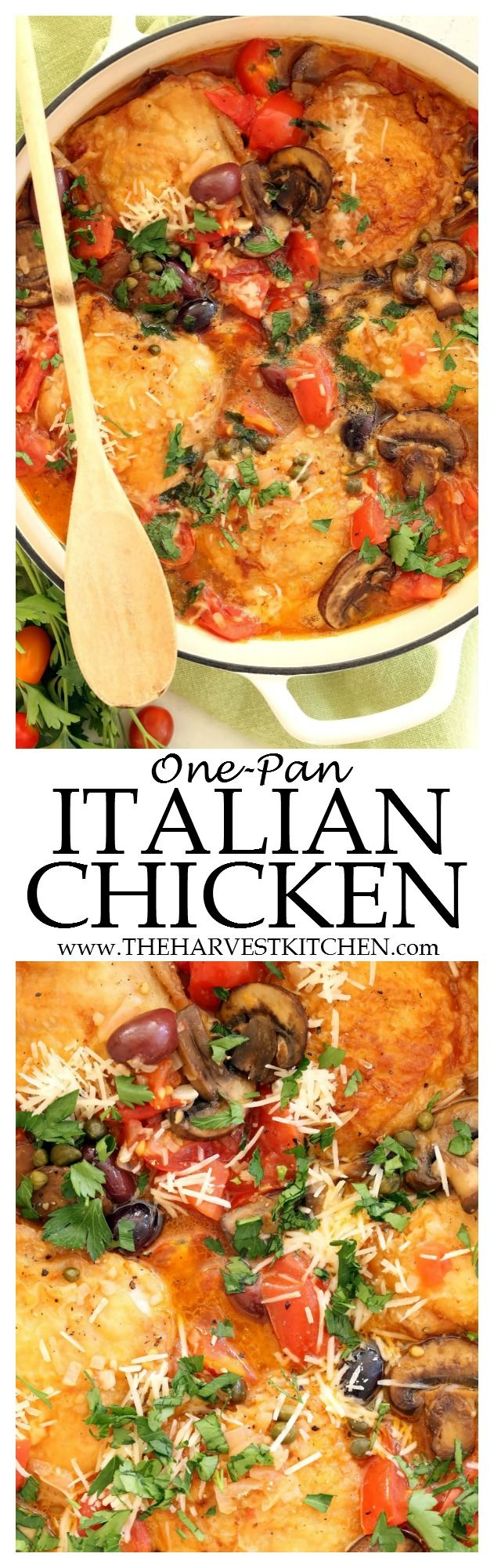 This One Pan Italian Chicken is an easy Dutch oven chicken recipe that's bursting with bright, hearty Italian flavors. It's easy enough to make any night of the week, yet elegant enough to serve guests for dinner. It will become one of your favorite chicken recipes that you'll make over and over again. | Dutch oven recipes | | easy chicken recipes | | clean eating | | healthy eating | | skinny chicken | | mediterranean chicken |