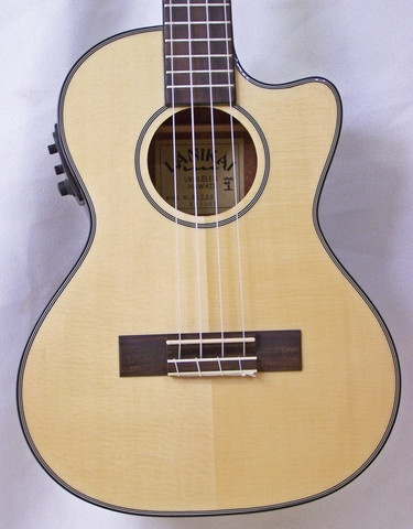 This tenor uke features a cutaway for those shreddin' solos, a solid spruce top, mahogany back & sides and a Fishman Kula pickup system.