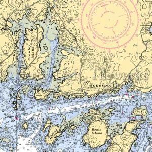 Maine - Jonesport / Nautical Chart Decor