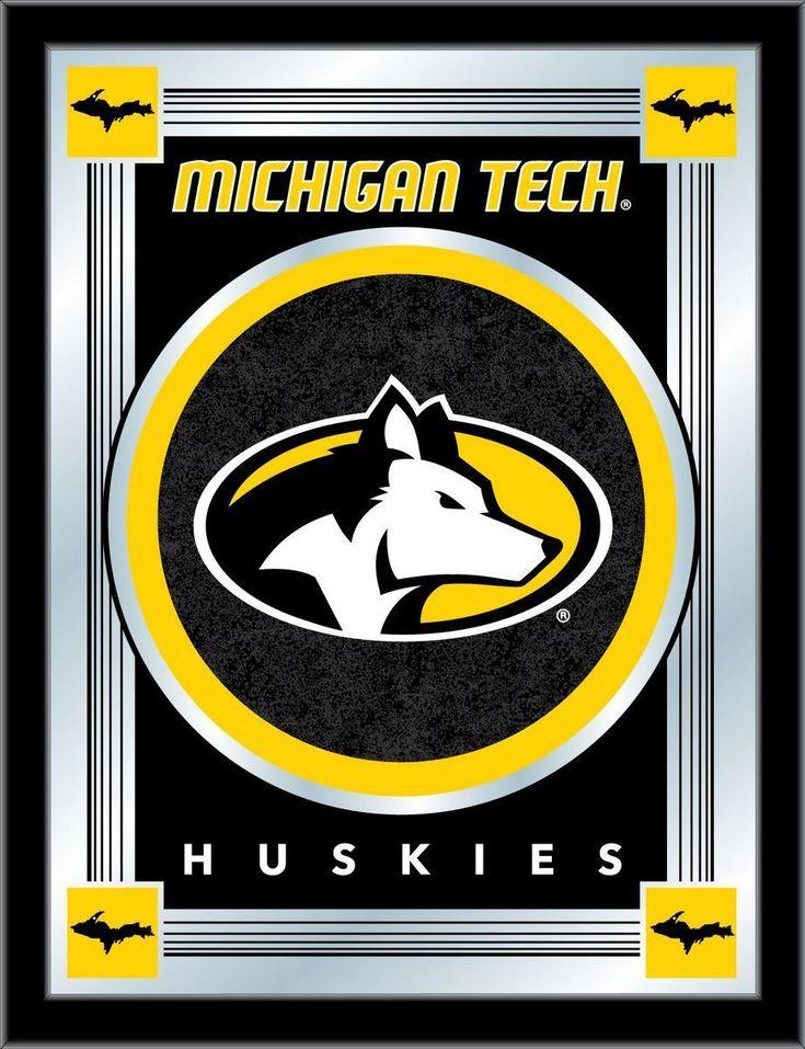 Michigan Tech Huskies Holland Bar Stool Co Collector Logo Mirror 17 X 22 With Images Michigan Tech Husky Logo Logo Wall