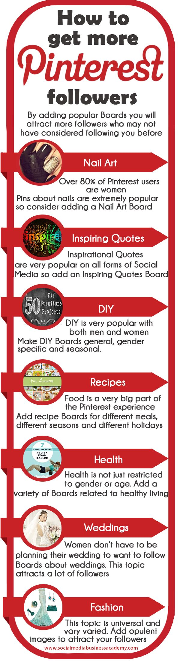#PinterestExpert Gaynor Parke shares how to get more Pinterest followers. For more Pinterest for business tips and resources visit www.socialmediabusinessacademy.com Pinterest Infographic