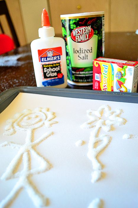 Salt painting!!!! Cheap and fun!!!!! Simply take a glue bottle, turn it upside down, make a design , then sprinkle salt on the glue!!! The glue dries with the salt on it and it will peel of the paper so you can save it!!! It will only peel if you use parchment paper!!!