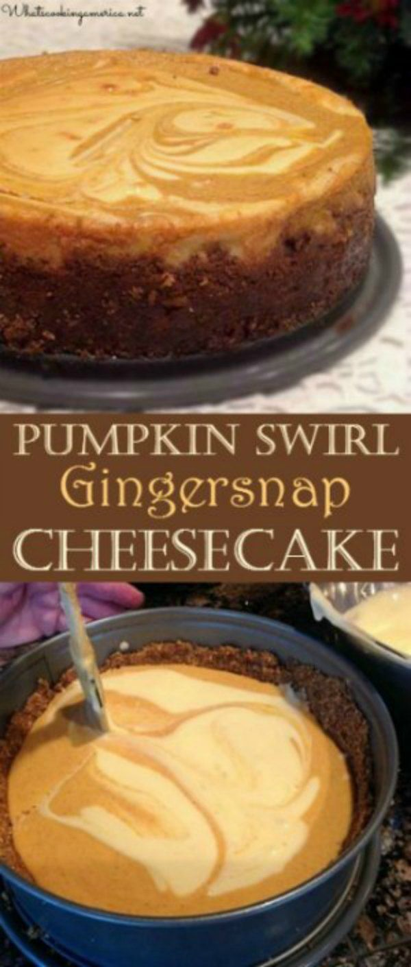 Vanilla and Pumpkin cheesecake flavors swirled together with a gingersnap crust #pumpkin #cheesecake #ginersnap #thanksgiving