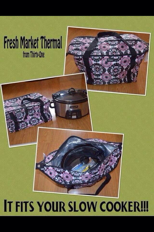 Our Thermal Market Totes fit your slow cooker!   Check out our patterns and our other totes at www.mythirtyone.com/419630