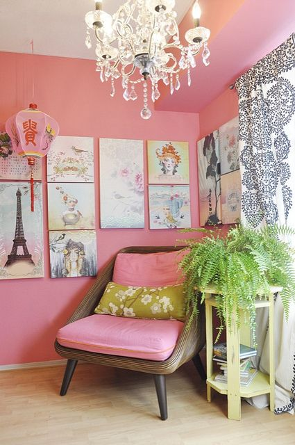 Pink Walls Paris Themed Room With Chandelier Little