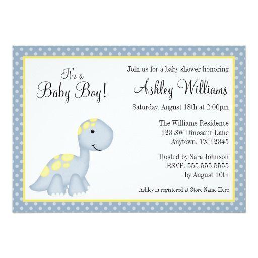 Blue Dinosaur Polka Dots Boy Baby Shower Custom Invites