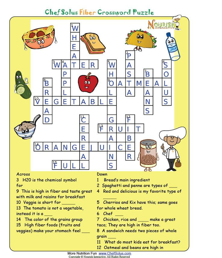 Fiber Answer Key | Nutrition Worksheets and Games ...