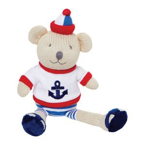 Small nautical sailor knitted teddy bear toy