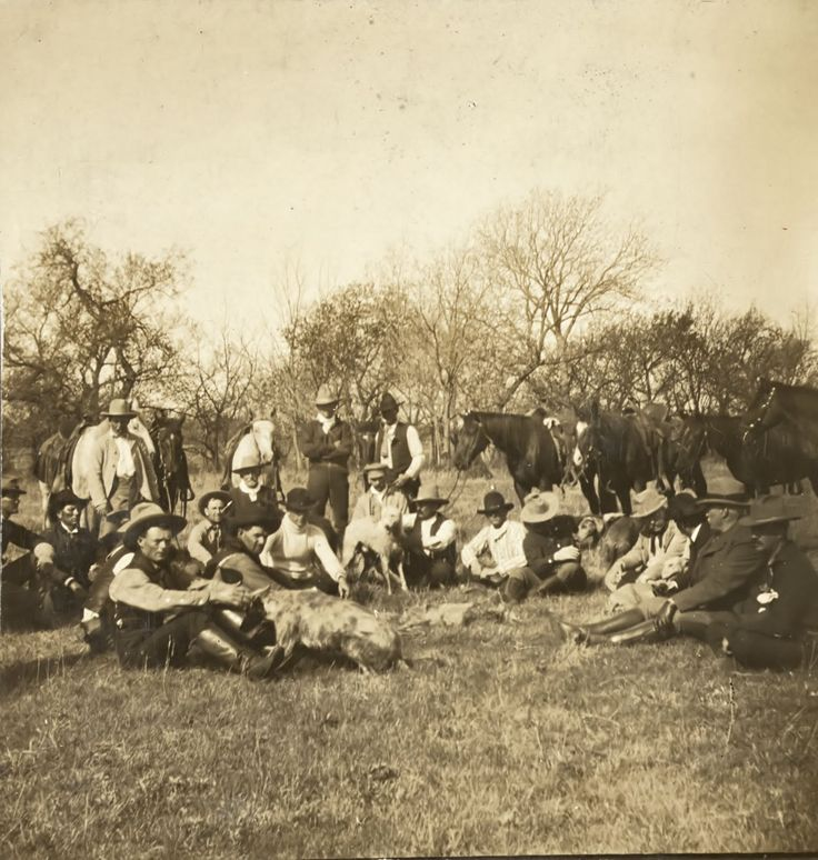 Teddy Roosevelt and Quanah Parker on a wolf hunt in April, 1905 on the 6666 Ranch near Guthrie, Texas is. They were there at the invitation of legendary rancher Burk Burnett. Teddy is fourth from the right and he is talking to Quanah, who is third from the right and looking at Teddy.