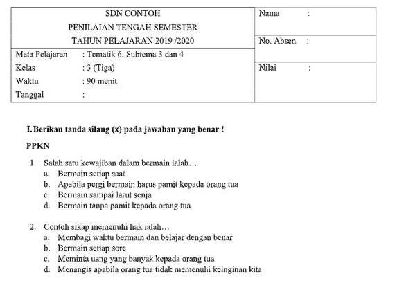 Soal Pts Kelas 3 Tema 6 Subtema 3 Dan 4 Dengan Kunci Jawaban Pendidikan Belajar Kurikulum