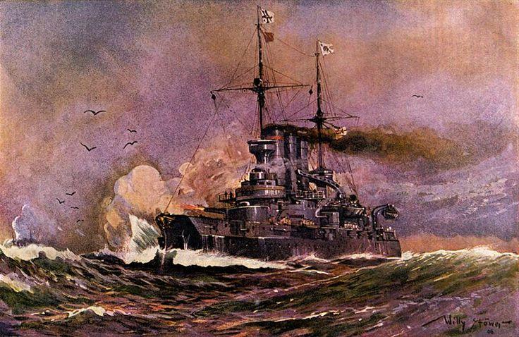 Panzerschiff Preußen in voller Fahrt feuernd