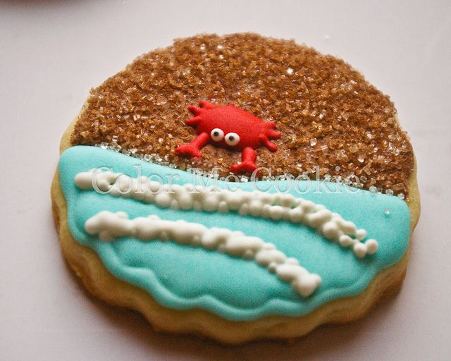 adorable crab on the beach cookie