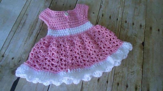 Vestido Bebe Rosa Nina Crochet Baby Dress Coming Home Outfit,Baby Shower Gift Pink Baby Dress Dress with Headband Crochet Baby Outfit