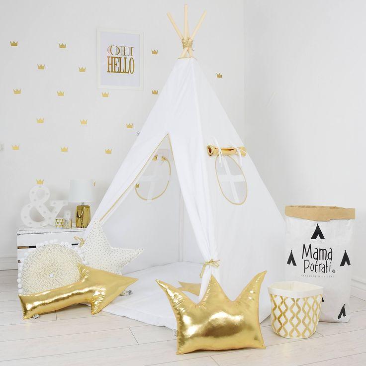Teepee, Kids Play Tent,  Tipi,  Kid Play Teepee,  Child Teepee,  Wigwam,  Zelt,  Tente - Gold Shine by MamaPotrafi on Etsy