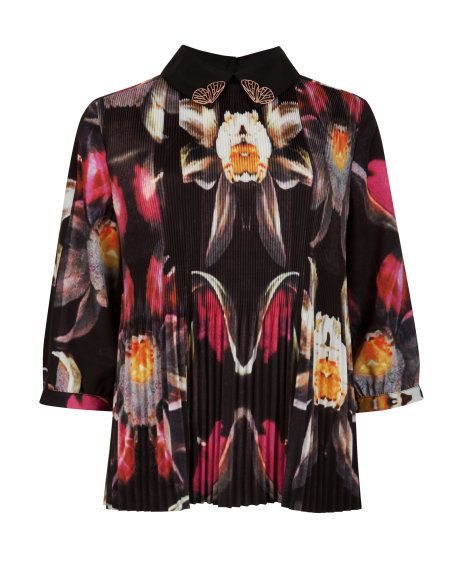 SAMEEY   Pleated petals print top - Black   Tops & T-shirts   Ted Baker