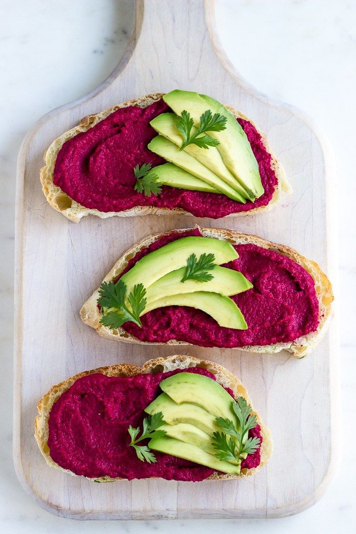 Beet Hummus Toast with Fresh Avocado via @ful_filled