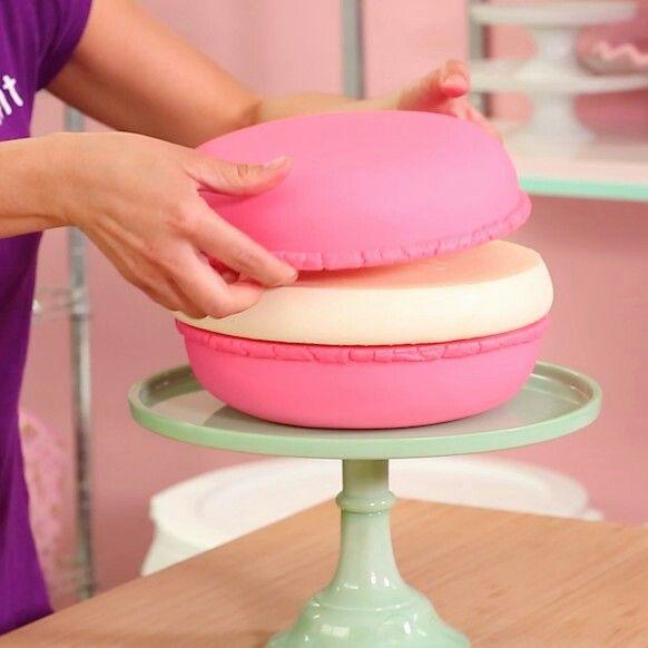 Giant macaron cake. 9in pans, fondant, recipe. Paris theme birthday party.