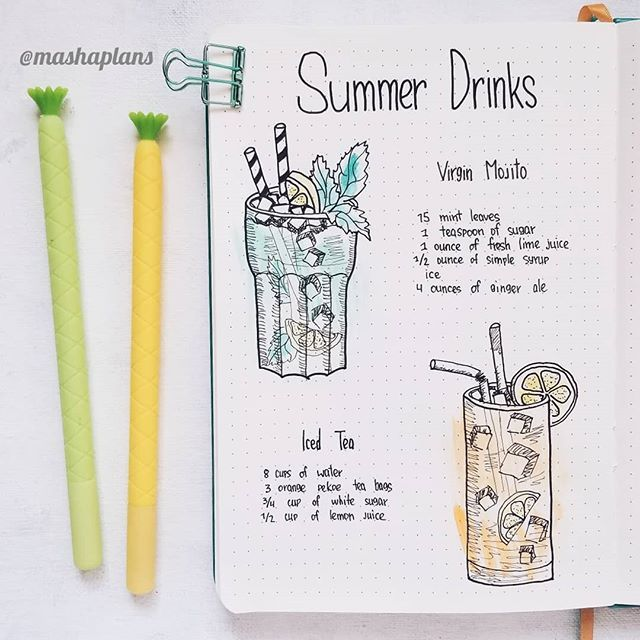 Masha (@mashaplans) summer drinks recipe page in my Bullet
