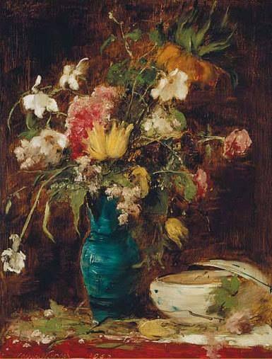 Munkácsy Mihály (1844-1900) - Virágcsendélet tállal