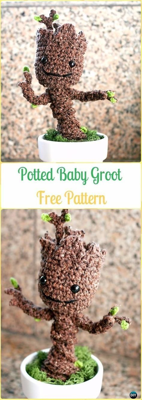 Crochet potted baby groot free pattern