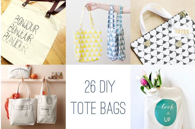 26 DIY tutorials for tote bags.  http://www.henryhappened.com/26-diy-tote-bags.html Ombre Heart/Stripe Totes: http://www.fortheloveof.net/diy-ombre-tote-bags/  Sequin-Striped Tote: http://inhonorofdesign.com/?s=sequin+striped+tote Design comes up side of bag: http://www.kollabora.com/projects/flower-tote